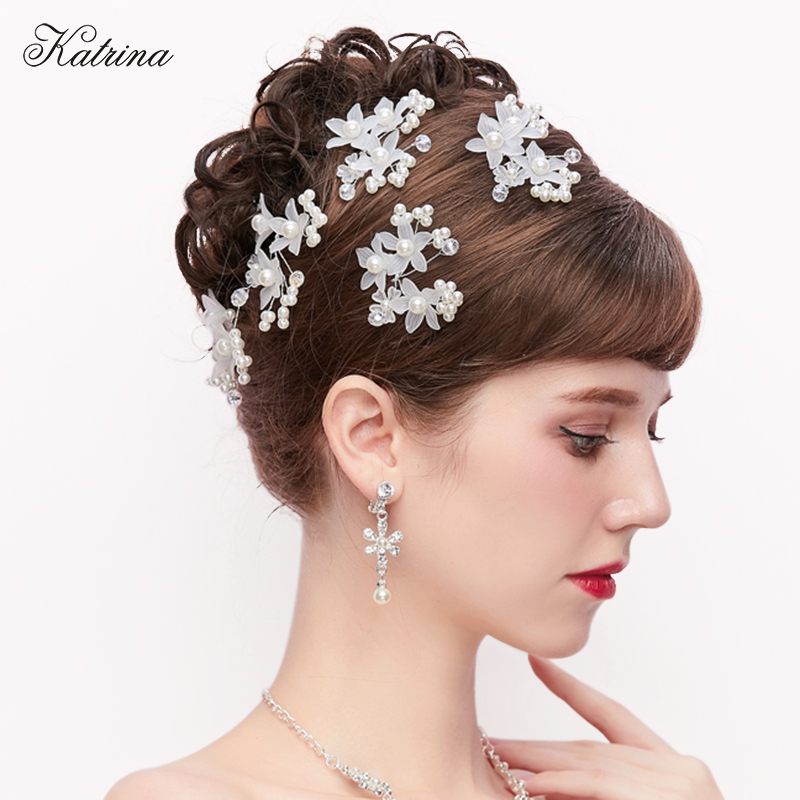 White Flower For Hair Wedding: Bridal Hair Accessories Red White Flower Hair Pins Wedding