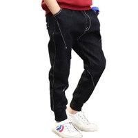 אביב 2018 ילדי ג 'ינס בני בגדי ילדים קוריאה האופנה Loose פסים מכנסיים בני בגדי 10 מכנסיים ג' ינס שחור 12 שנים