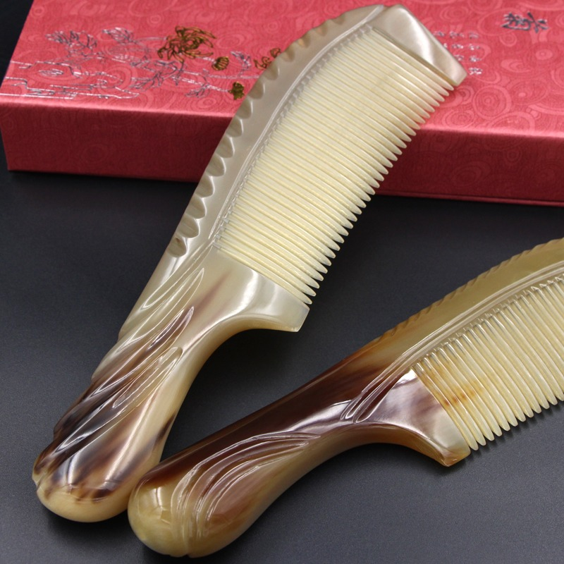 Hairbrush Combs For Women Natural Anti Static White Buffalo Horn Comb Hair Care Prevent Loss Massage Brush Straight Gift fashion women bracelet vintage weave wrap quartz cow leather clover beads wrist watches lady watch relojes mujer kow065