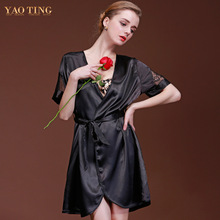Women Homewear Sexy Temptation Silky Nightdress Lace Hollow Short Sleeve Cardigan Nightgown Silk Sleepwear Waist Belt Sleepshirt