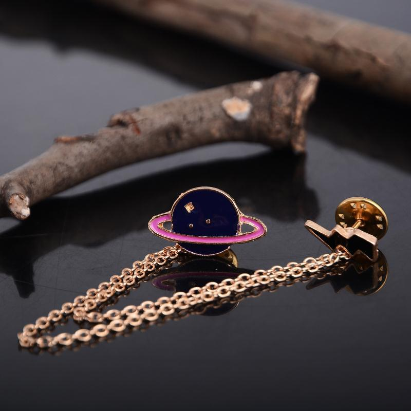 Hot Exaggerated Alloy Fashion Creative Saturn Planet Long Chain Brooch Collar Pin Brooches Lovely For Women Girl