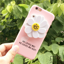 Cute 3D Daisy Flower Mirror Case For iphone 6 Case For iphone 6S 6 PLus Hard Back Cover Makeup Mirror Phone Cases Shell Fundas