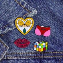 Броши для женщин, креативное ювелирное изделие, булавки, мультяшный куб, сексуальные губы, приклад, мода для мальчиков и девочек, джинсовые куртки с отворотом, одежда, сумка, булавка, подарки