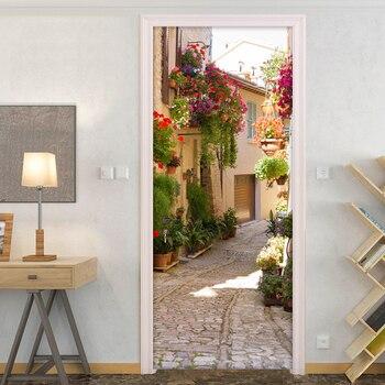 Ev ve Bahçe'ten Kapı Çıkartmaları'de 3D Duvar Kağıdı PVC Kendinden yapışkanlı Su Geçirmez Fotoğraf Duvar Kapı Sticker Avrupa Sokak Görünümü Cafe Restaurant Kapı Duvar yapışkan kağıt