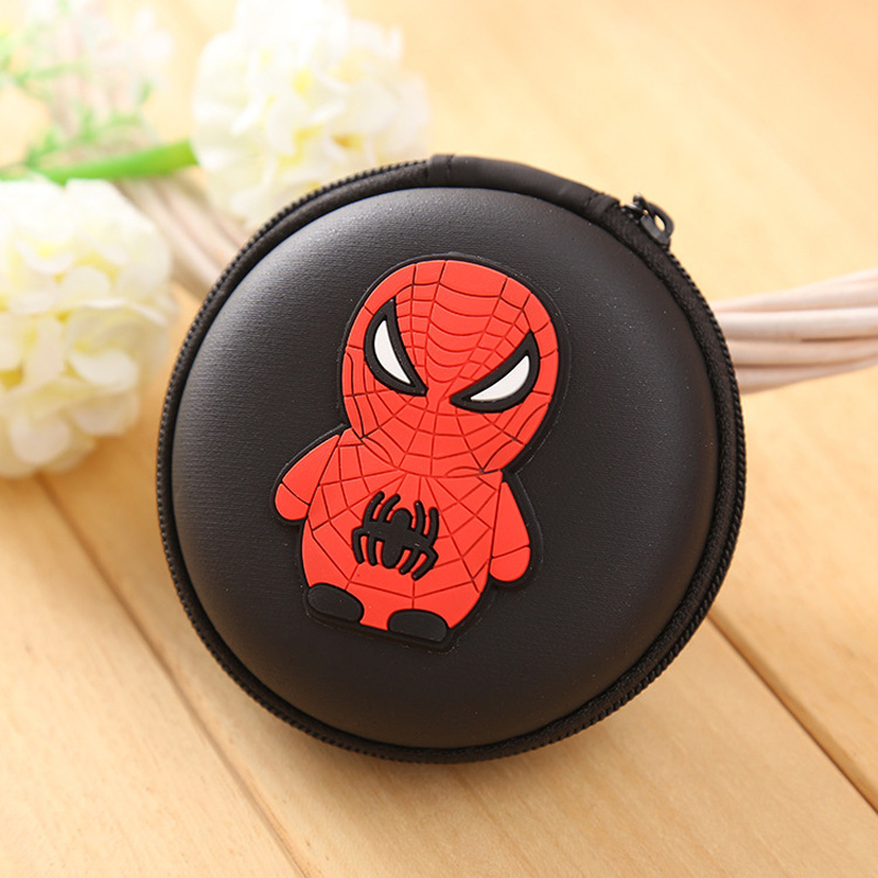 Cute Cartoon Candy Color Silicone Coin Purse Key Wallet Earphone Organizer Storage Box Spider-man Ironman Batman Coin Wallets