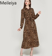 Meileiya women leopard print  dress bow tie sashes long sleeve retro ladies casual chic dresses vestidos