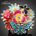 Chran Exaggerated Design Gold Plating Austrian Cystal SWA Element Multi Color Flower Butterfly  Ring For Women DFDR0036