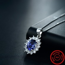 Modian Natural Blue Crystal luxury Genuine 925 Sterling Silver Pendant Brand Zirconia Necklace Wedding Jewelry For Women