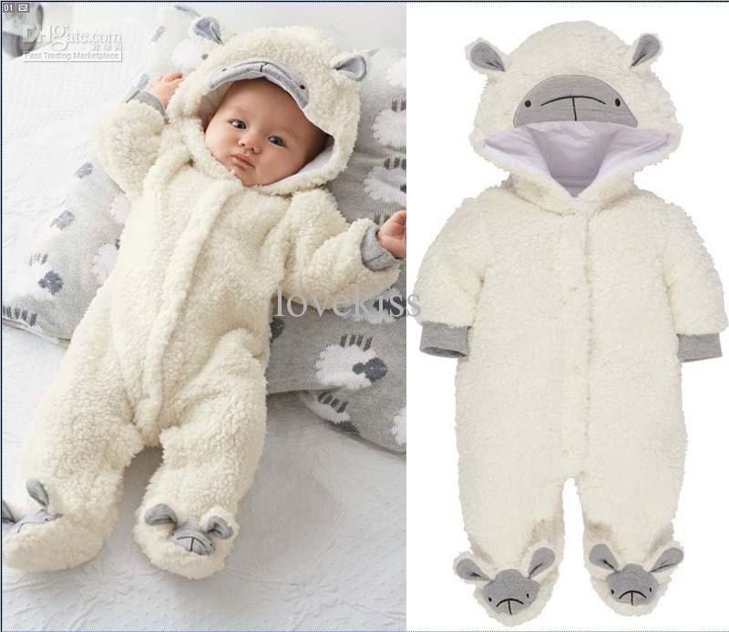 Hooded Boy Cotton Polar Fleece Infant One Piece Clothing