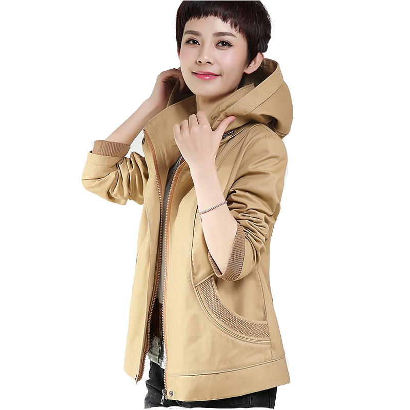 2016 New Spring Autumn Short Female Coats Hooded Women Solid Casual Plus size M-5XL Middle-aged Mother Jackets KL301