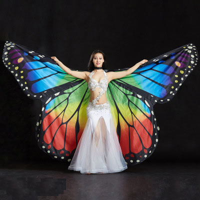 Beautiful Women And Gilrs Belly dance wings that have telescopic stick Women and girls fairy wings that have telescopic stick