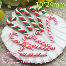polymer clay red green white Christmas candy cane for decoration 10*24mm 50pcs/lot two color