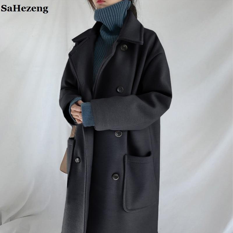 Kadın Giyim'ten Yün ve Karışımları'de Süper Kalın Yün Giyim Kadın Sıcak Kışlık Mont Ceketler 2018 Moda Rahat Dişi Üçlü Göğüslü Gevşek Yün Palto O20 1'da  Grup 1