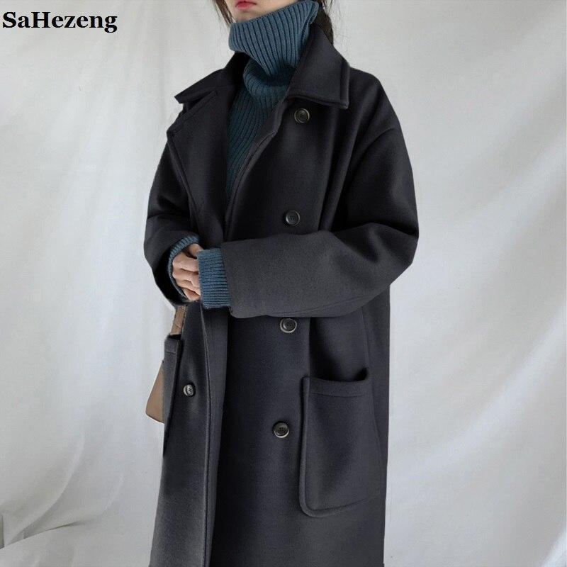 Super gruby wełniany odzieży wierzchniej kobiet ciepłe zimowe płaszcze kurtki 2018 moda na co dzień żeński potrójny piersi luźne wełniane płaszcze O20 1 w Wełna i mieszanki od Odzież damska na  Grupa 1