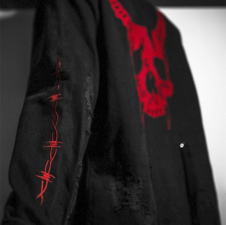 Image 3 - Harajuku Gothic Demon Hunter Skull black denim jacket men Rock  punk heavy metal Sweatshirt sudadera suspenders hole streetwearJackets
