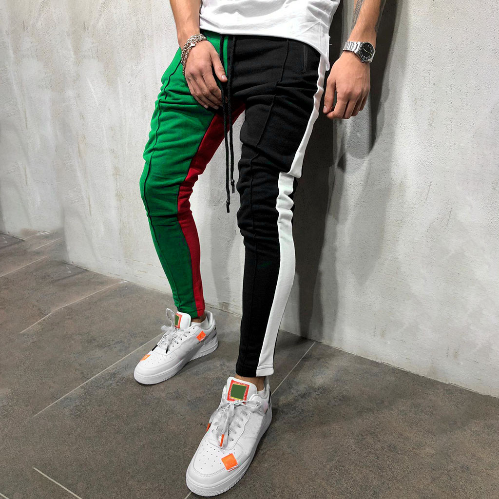 Sweatpants Slacks Hip-Hop-Trousers Color-Block Patchwork Slim-Fit Jogging Striped Long