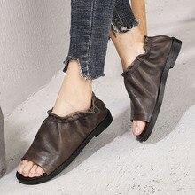 Artdiya Original Summer New Peep Toe Women Shoes Genuine Leather Retro Low Heels Comfortable Personality Handmade Casual Sandals цена 2017