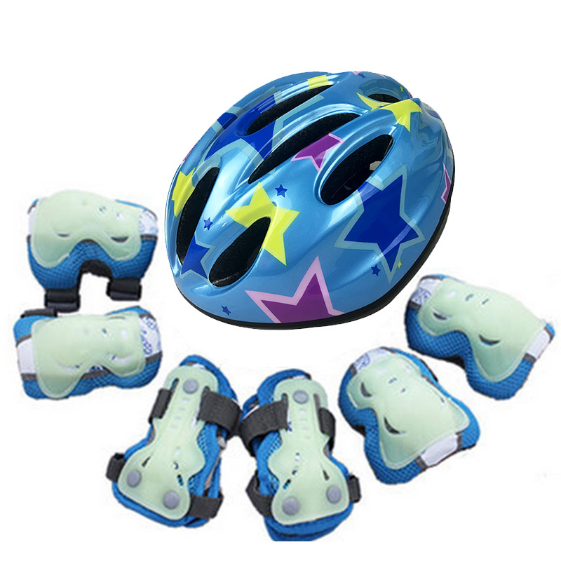 kufun 7pcs/Set Helmet Skate Protective Gear Knee Elbow Pads Wrist For Scooter Cycling Roller For Kids Teenager Children