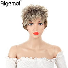 Aigemei 3 Inch Short Body Wave Wig With Bangs Ombre 613 To Brown Wigs Synthetic Hair For Woman Cosplay