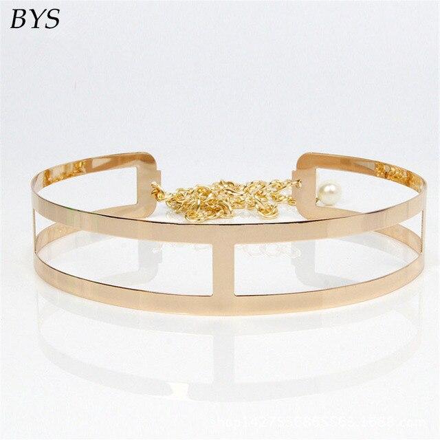 Cintos de Design de moda Das Mulheres 2016 Novo 4.4 CM Cintura Espelho de Metal Cinto de Fivela senhora, ampla Cintura de Ouro/Prata Cinto com Correntes
