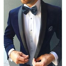 2017 New Designed Velvet tuxedos Wool Shawl Lapel British style Custom Made Mens Suit Slim Fit Blazer Wedding suits for men
