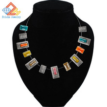 2015 Fashion enamel necklace pendant cable connection blending fashion statement female jewelry free shipping