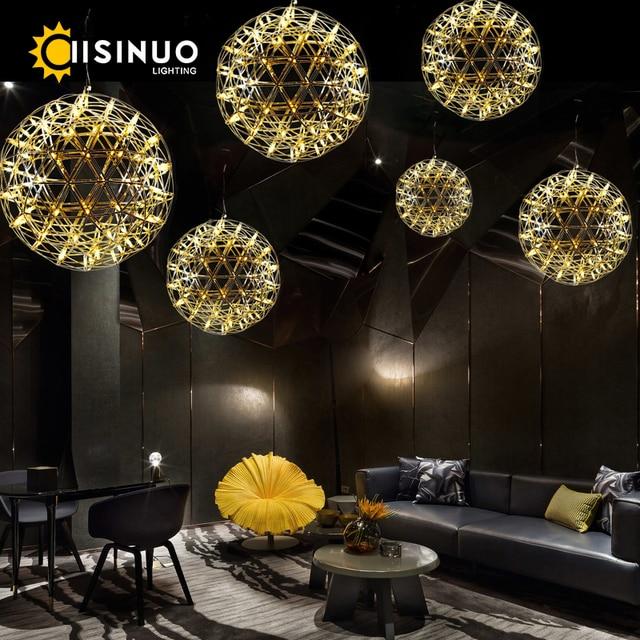 Modern Luxury indoor LED lamp Sparks chandelier fireworks G4 Stainless steel pendant lamp Spherical decor Chrome and Titanium