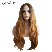 Similler 28 High Temperature Fiber Long Wavy Dark Root Brown Women Ombre Wig Synthetic Hair For