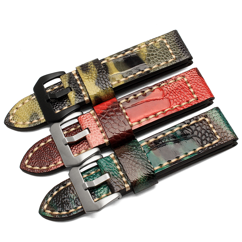 Hot Sale 20 22 24 26mm Ostrich legs Leather Mens Watch bands Red Watch Accessories For