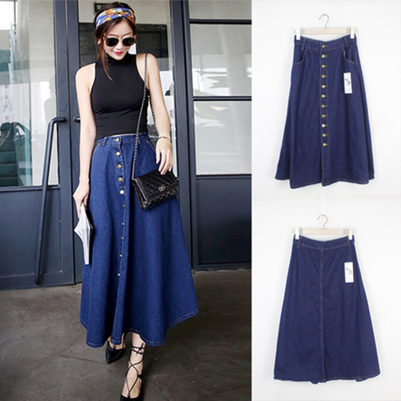 Long Button Front Denim Skirt - Dress Ala