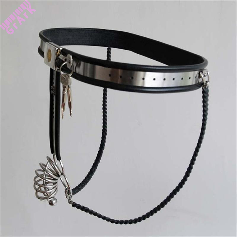 Buy Stainless Steel Male Chastity Device,Male Chastity Belt,penis sleeve,Strap pants,steel chastity cage,sex products men penis,