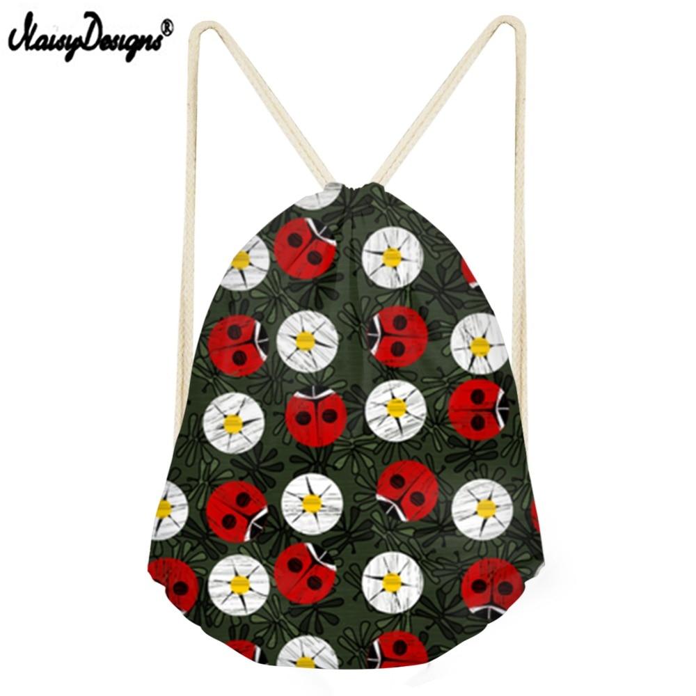 NOISYDESIGNS Drawstring Bag For Ladybug Garden Small Children Backpacks Teenager Girls Daily Sport Bags Mochila Drop