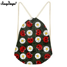 NOISYDESIGNS Drawstring Bag For Ladybug Garden Small Children Backpacks Teenager Girls Daily Sport Bags Mochila Drop Shipping