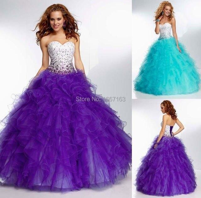 c7fabe101e Quinceanera Dress Purple Blue Turquoise Beading Ruffles 2015 Quinceanera  Dresses Vestidos De 15 Anos Vestido De Debutante