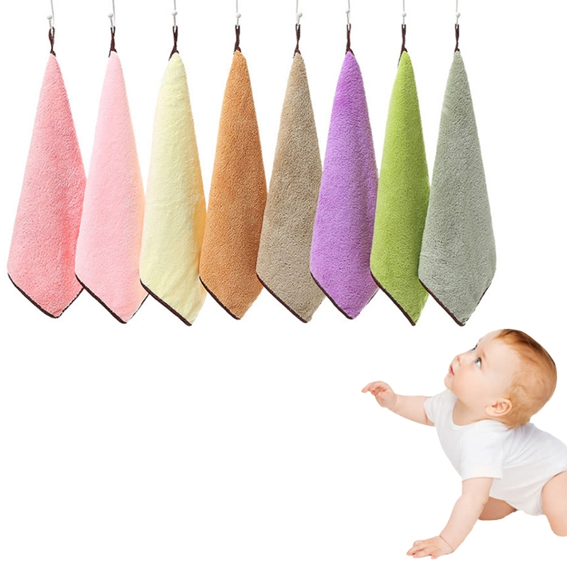 Baby Towel 30x30cm Coral Fleece Soft Wipe Food Washing Face Square For Children
