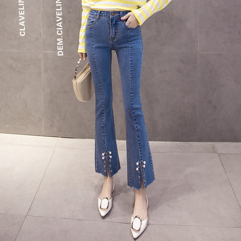 Open Crotch Jeans With Pearls Vintage Cropped Flares Bottome Jeans Stretch High Waist Sp ...