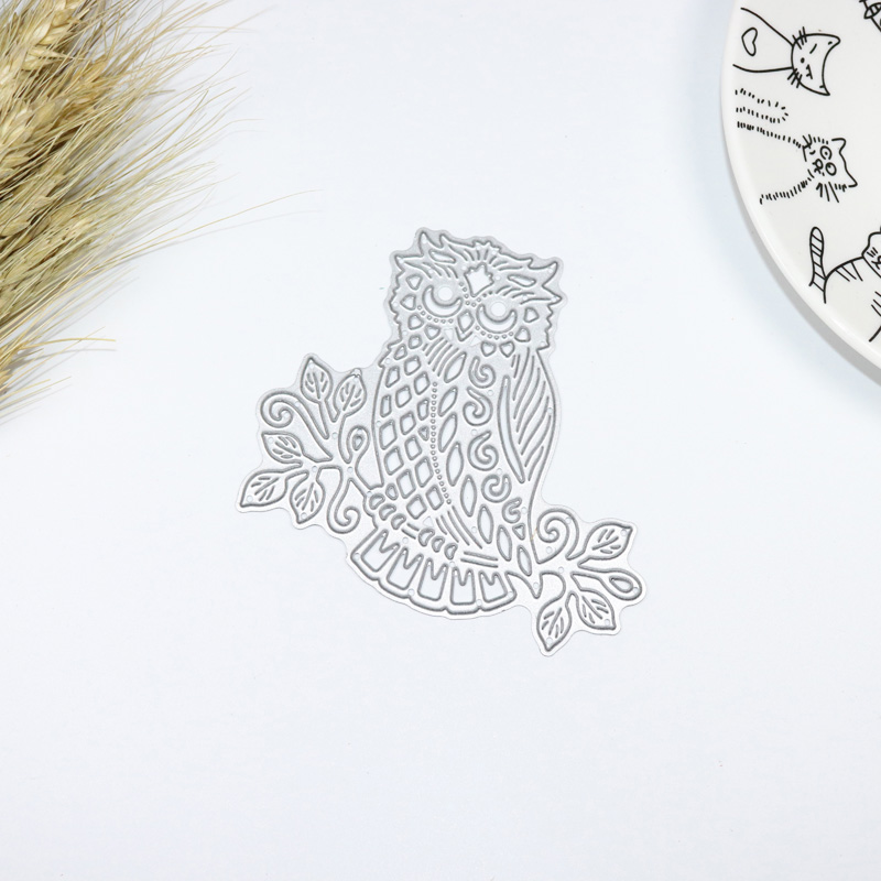 metal cutting die DIY scrapbook paper craft decorative steel embossing stencils template hoot cute night owl bird branches