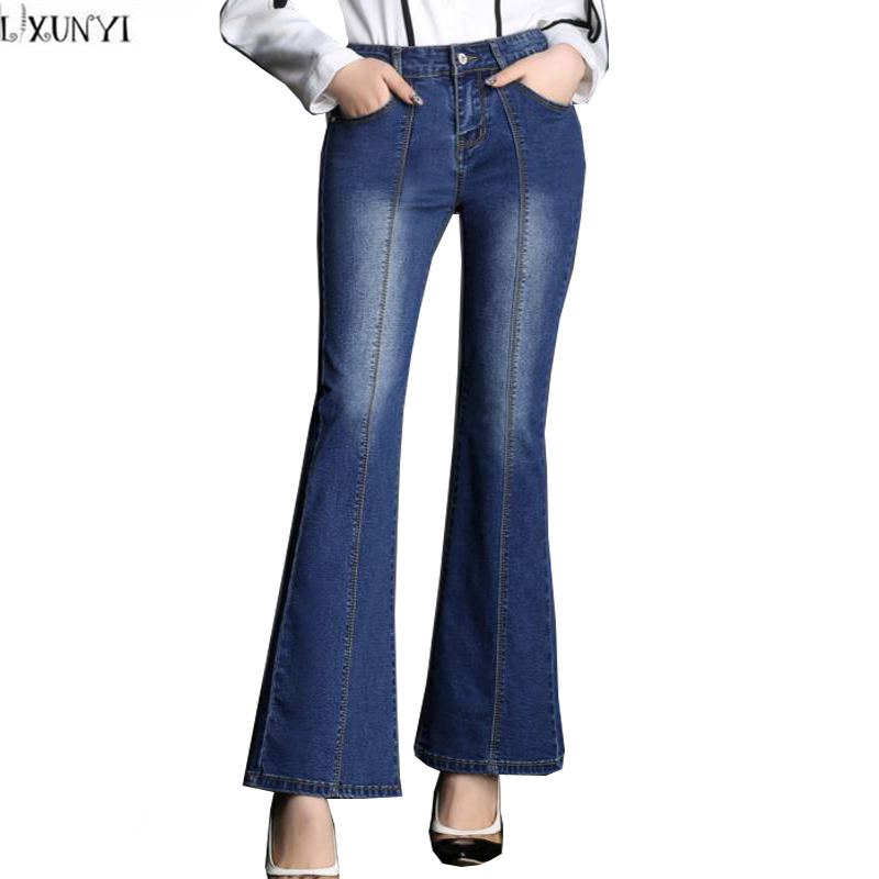 Flare Jeans Woman Plus Size 2017 Spring Autumn Fashion jeans Female Bell Bottom Pants Wholesale Mid Waist Slim Denim Trousers 2017 new jeans women spring pants high waist thin slim elastic waist pencil pants fashion denim trousers 3 color plus size