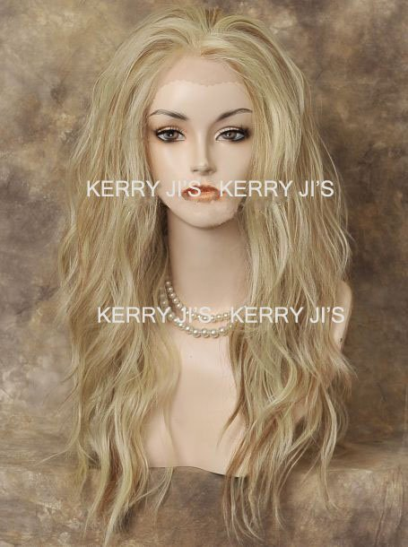New 24inch Long Wavy LACE FRONT WIGs Heat Fesistant Pale Blonde Mix  free shipping
