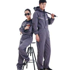 Image 5 - Safety reflective work overalls with hat, factory uniform work clothing, cotton overalls.jumpsuit,Labor suit.