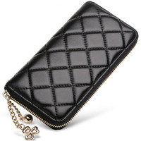 Classic Diamond Lattice Ornament Fashion Genuine Leather Wallet Women Solid Color Sheepskin Zipper Purse Chain Ornament