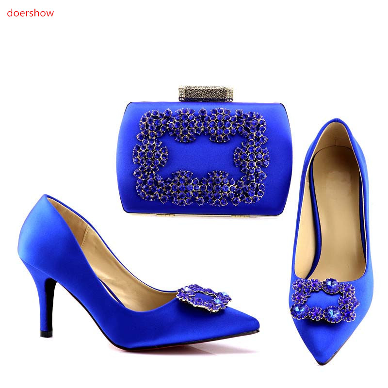 doershow  blue Shoes and Bag To Match Italian Women Shoe and Bag To Match for Parties African Shoes and Bags Matching Set!HV1-72 doershow women shoe and bag to match for parties african shoe and bag set for wedding in women white high quality lulu1 23
