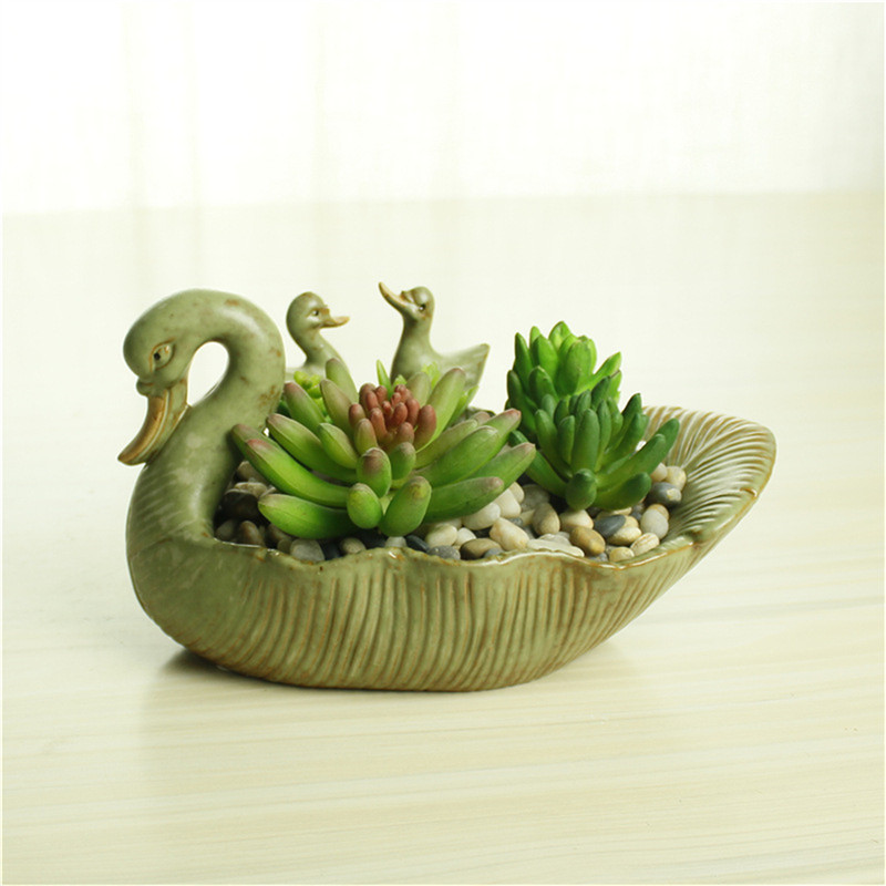 Cute Swan Wedding Favors And Gifts Ceramic Terracotta Pots For Flowers Planters Succulent Plant