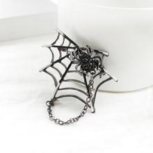 Vintage broches con forma de araña de pistola negro Chapado en cristal imán de esmalte blanco araña web hebilla de bufanda ropa de solapa para hijab pines