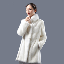 2016 winter woman fashion white mandarin collar  real mink fur real mink coat 8072