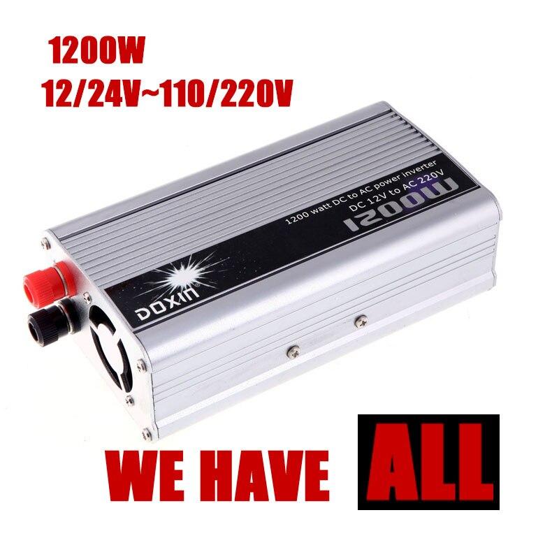 Автомобиль Мощность преобразователь USB Зарядное устройство 1200 Вт DC 12 24 В к AC 110 220 В Портативный Напряжение трансформатор модифицированная с