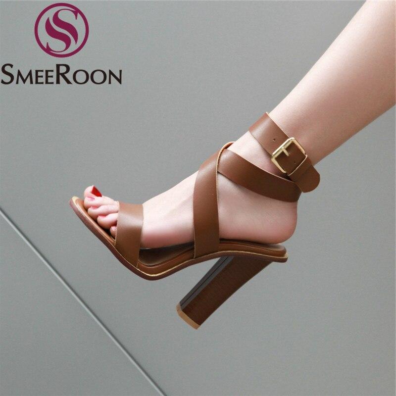 Smeeroon Gladiator Sandals Shoes Buckle Square High-Heels Elegant Women Plus-Size 34-48