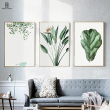Nordic Style Unframed Various Shapes Green Leaves Landscape Paintings On Canvas Wall Art Living Room Decorative Pictures Posters
