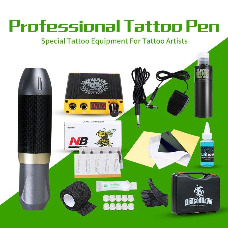 Professionnel De Tatouage Rotary Stylo De Tatouage Kit Machine Mini Puissance Importé En Bouteille Encres Ensemble Studio De Tatouage Fournitures
