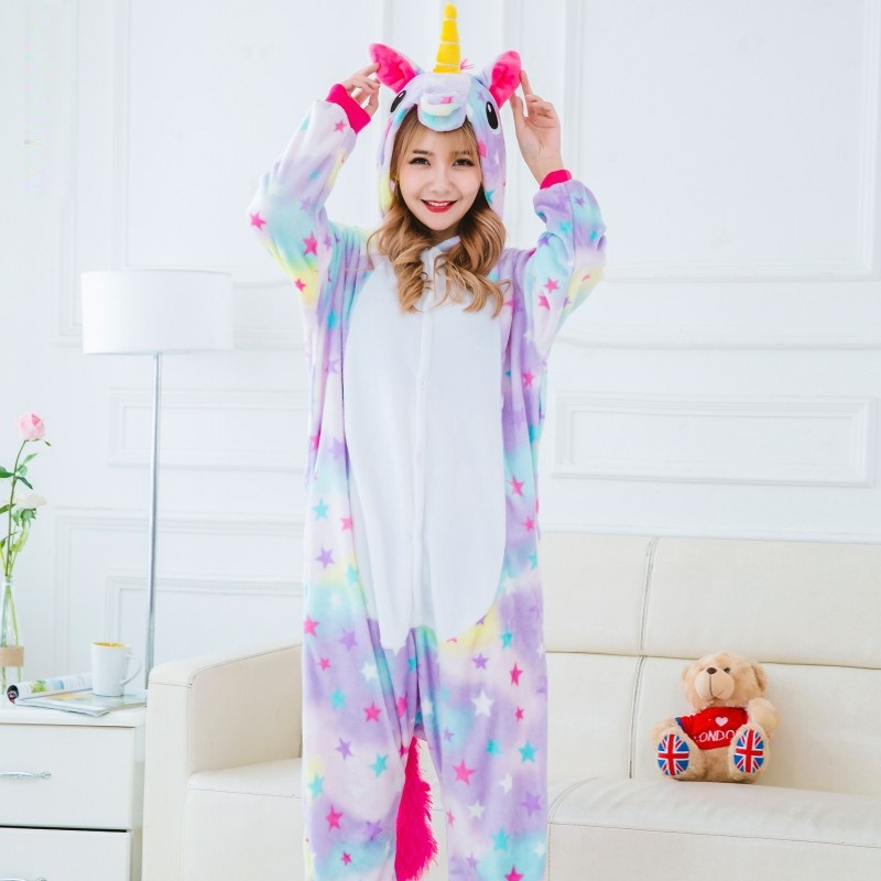 Halloween-Unicorn-Pajamas-Sets-Flannel-Pajamas-Winter-2017-Blue-Stitch-Nightie-Onesies-for-Women-Adult-Sleepwear (3)